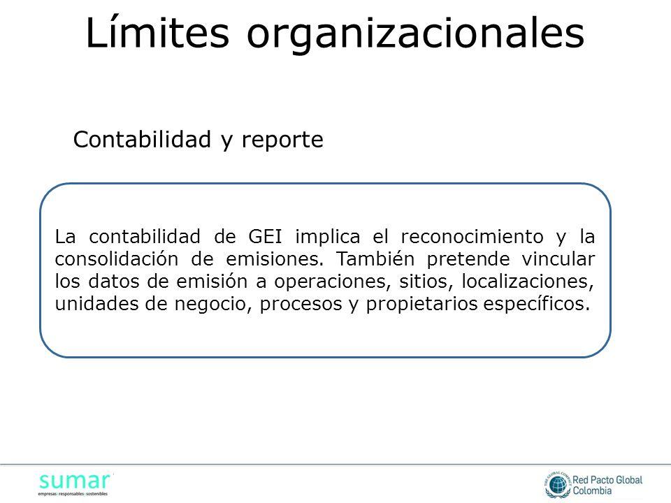 La contabilidad de GEI implica el reconocimiento y la consolidación de emisiones. También pretende vincular los datos de emisión a operaciones, sitios