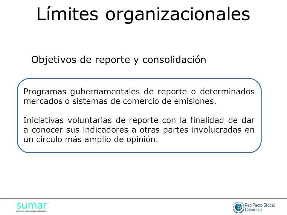 Programas gubernamentales de reporte o determinados mercados o sistemas de comercio de emisiones.