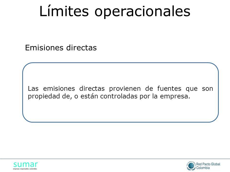 Las emisiones directas provienen de fuentes que son propiedad de, o están controladas por la empresa. Emisiones directas Límites operacionales