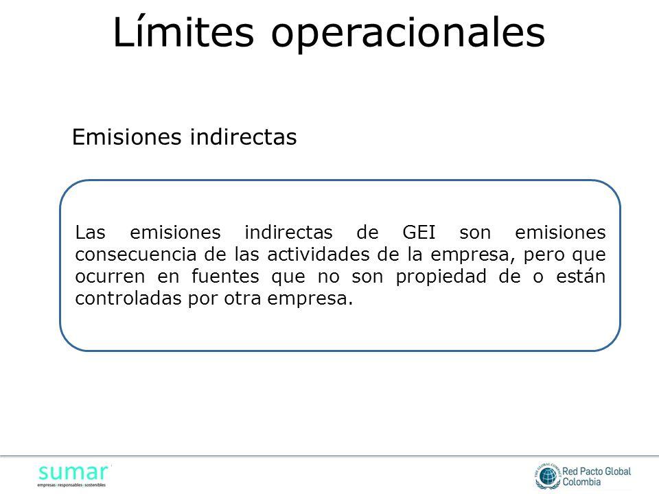 Las emisiones indirectas de GEI son emisiones consecuencia de las actividades de la empresa, pero que ocurren en fuentes que no son propiedad de o están controladas por otra empresa.