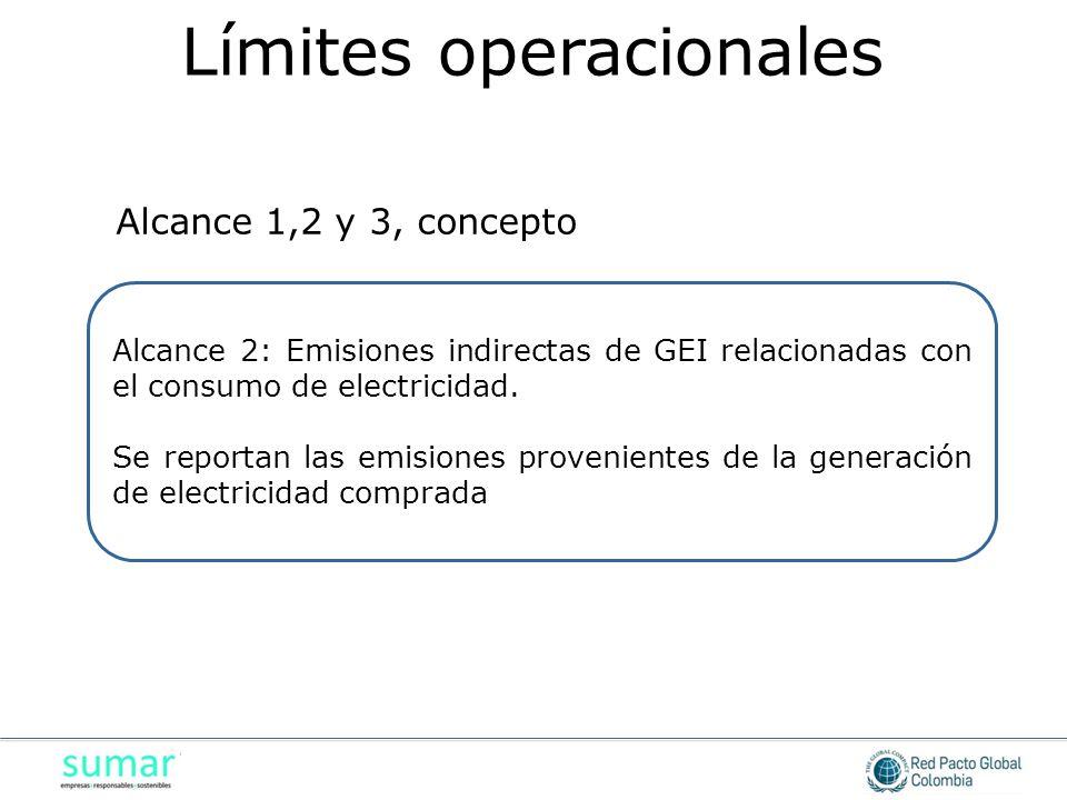 Alcance 2: Emisiones indirectas de GEI relacionadas con el consumo de electricidad. Se reportan las emisiones provenientes de la generación de electri