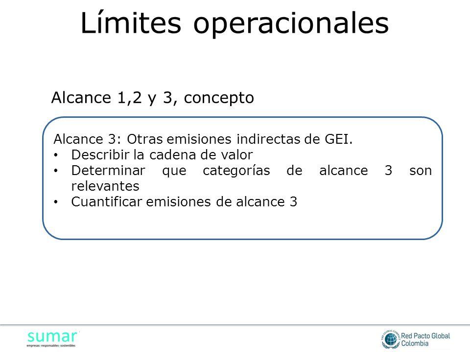 Alcance 3: Otras emisiones indirectas de GEI. Describir la cadena de valor Describir la cadena de valor Determinar que categorías de alcance 3 son rel
