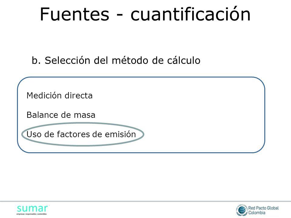 Medición directa Balance de masa Uso de factores de emisión b. Selección del método de cálculo Fuentes - cuantificación