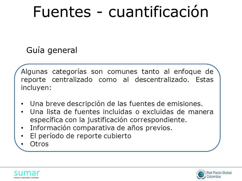 Algunas categorías son comunes tanto al enfoque de reporte centralizado como al descentralizado.