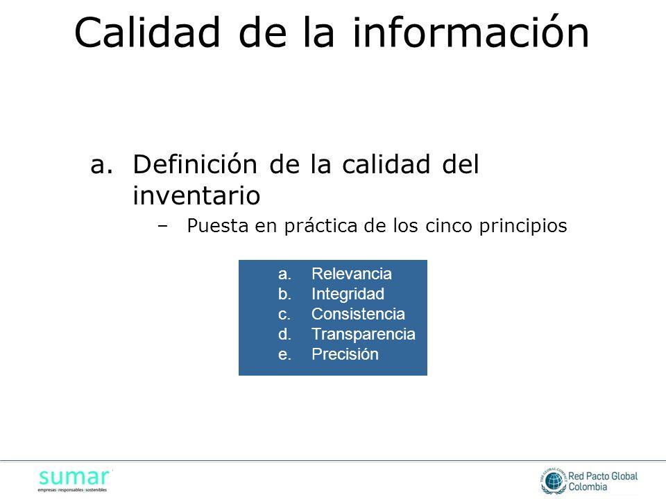 a.Definición de la calidad del inventario –Puesta en práctica de los cinco principios a.Relevancia b.Integridad c.Consistencia d.Transparencia e.Preci