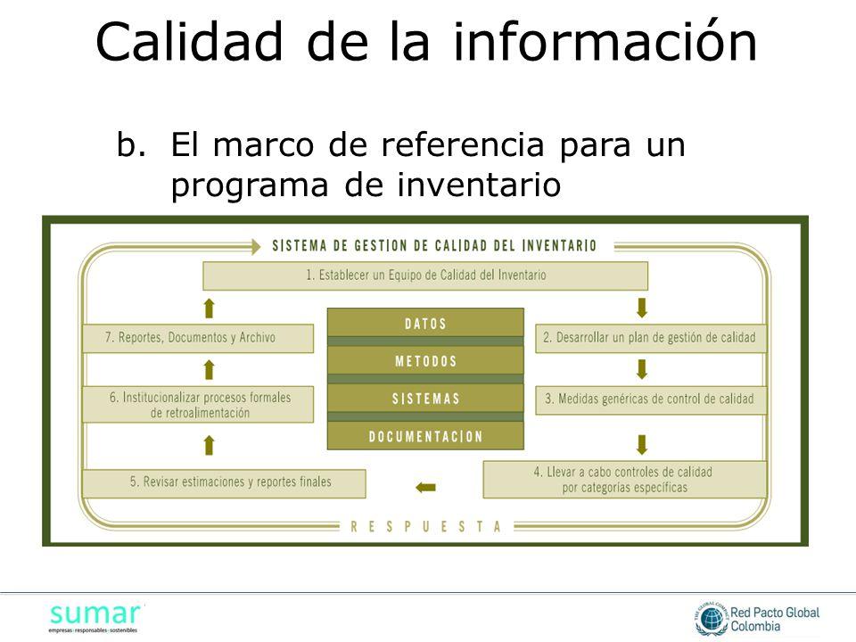 b.El marco de referencia para un programa de inventario Calidad de la información