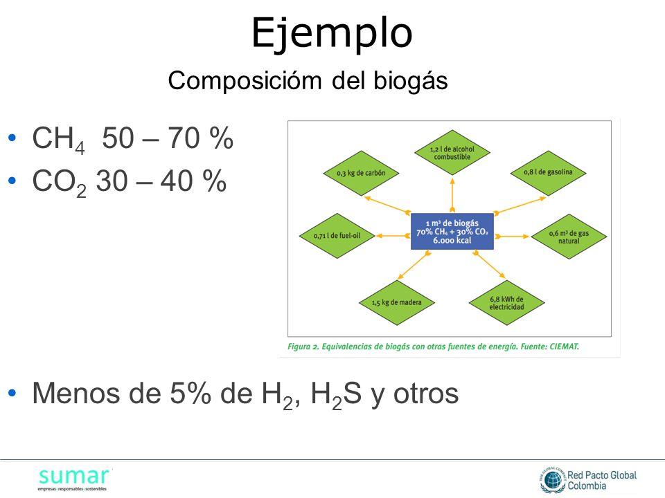 CH 4 50 – 70 % CO 2 30 – 40 % Menos de 5% de H 2, H 2 S y otros Composicióm del biogás Ejemplo