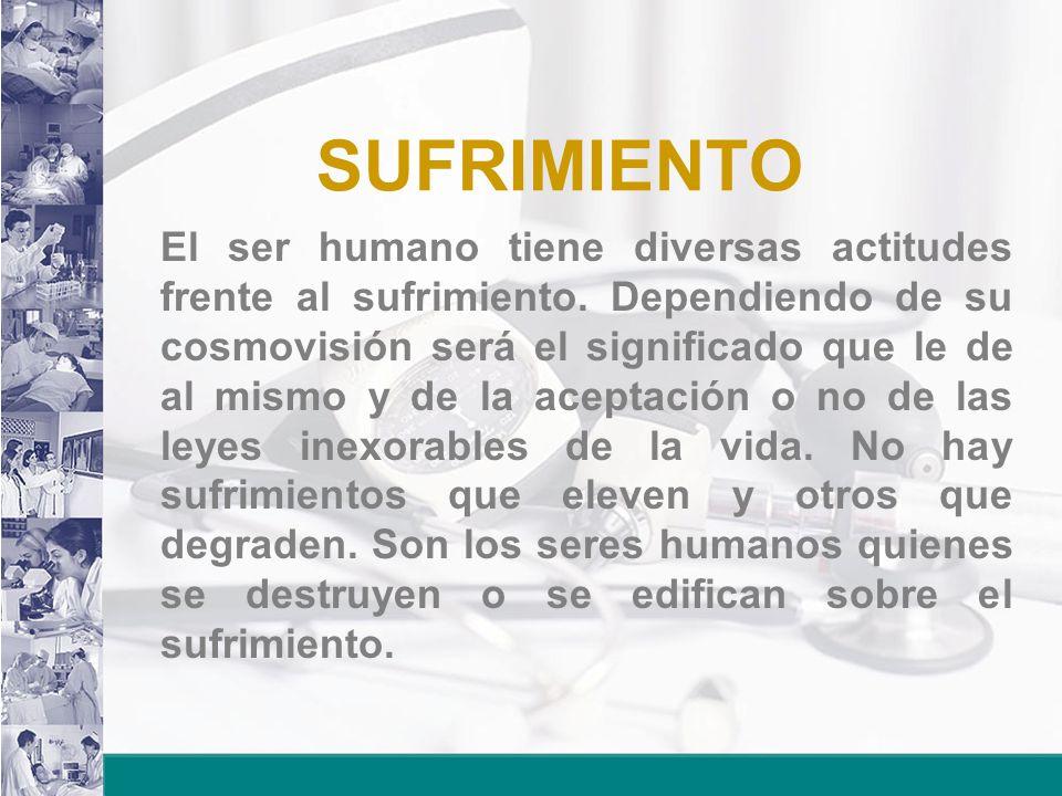 SUFRIMIENTO El ser humano tiene diversas actitudes frente al sufrimiento. Dependiendo de su cosmovisión será el significado que le de al mismo y de la