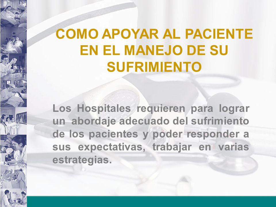COMO APOYAR AL PACIENTE EN EL MANEJO DE SU SUFRIMIENTO Los Hospitales requieren para lograr un abordaje adecuado del sufrimiento de los pacientes y poder responder a sus expectativas, trabajar en varias estrategias.