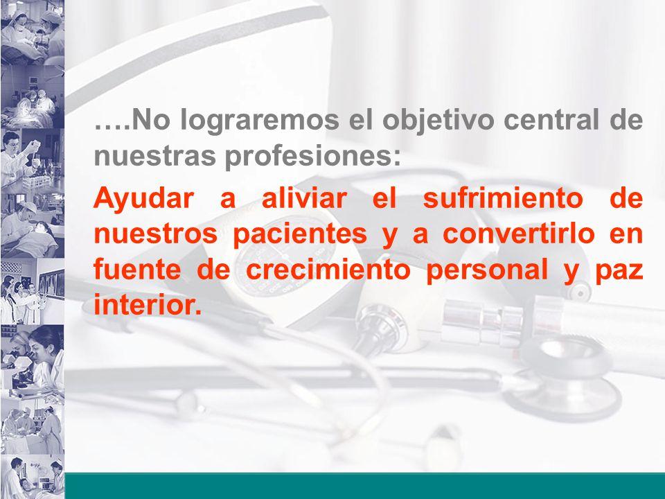 ….No lograremos el objetivo central de nuestras profesiones: Ayudar a aliviar el sufrimiento de nuestros pacientes y a convertirlo en fuente de crecim