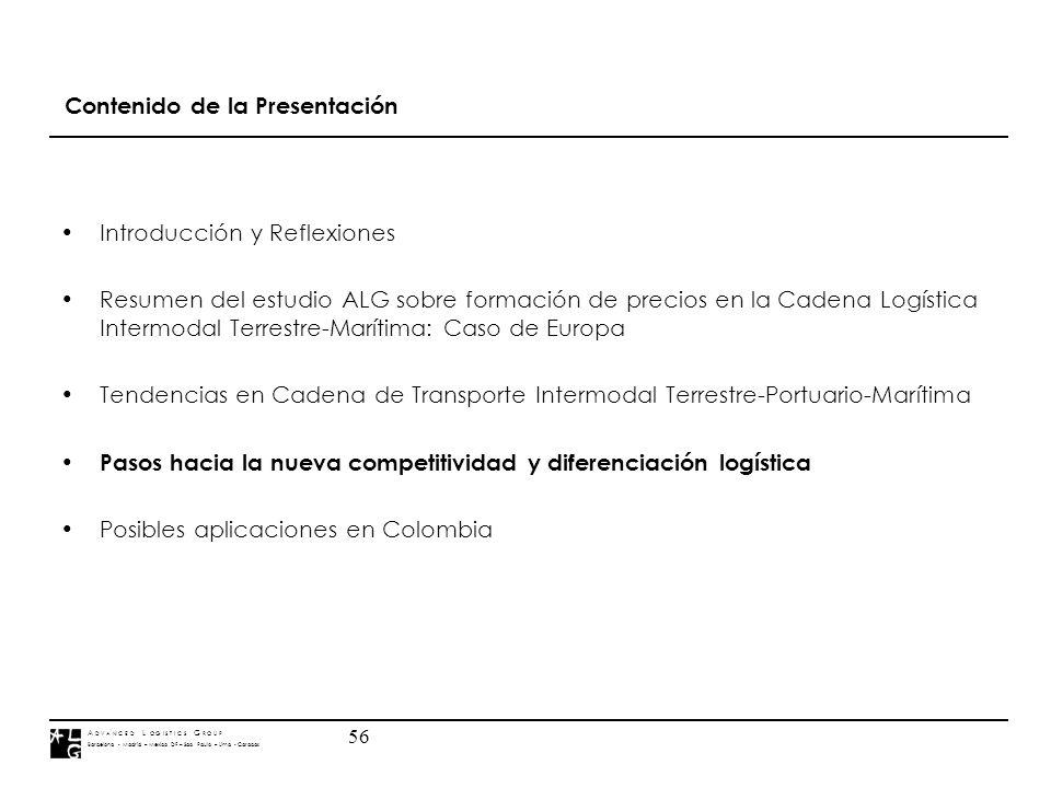 A D V A N C E D L O G I S T I C S G R O U P Barcelona - Madrid – Mexico DF – Sao Paulo – Lima - Caracas 56 Contenido de la Presentación Introducción y