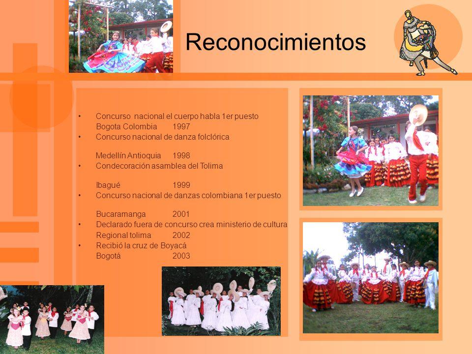 Reconocimientos Concurso nacional el cuerpo habla 1er puesto Bogota Colombia1997 Concurso nacional de danza folclórica Medellín Antioquia1998 Condecor