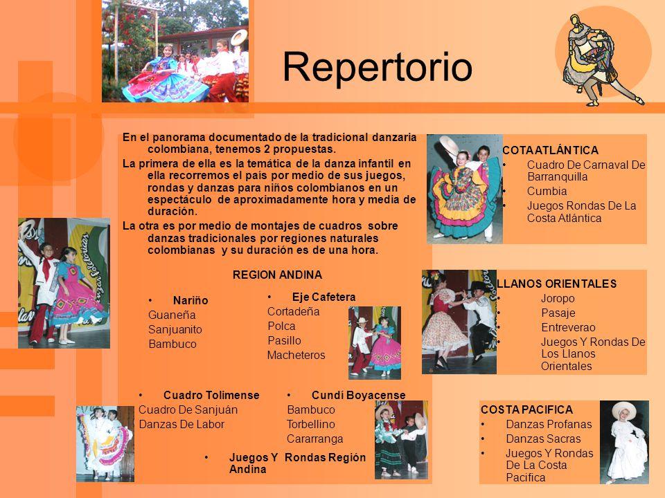Repertorio COTA ATLÁNTICA Cuadro De Carnaval De Barranquilla Cumbia Juegos Rondas De La Costa Atlántica LLANOS ORIENTALES Joropo Pasaje Entreverao Jue