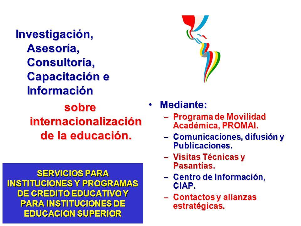 Investigación, Asesoría, Consultoría, Capacitación e Información sobre internacionalización de la educación. Mediante:Mediante: –Programa de Movilidad
