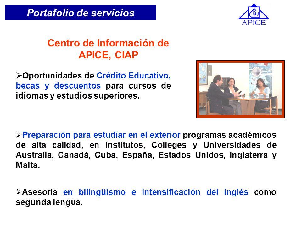 Portafolio de servicios Oportunidades de Crédito Educativo, becas y descuentos para cursos de idiomas y estudios superiores. Centro de Información de