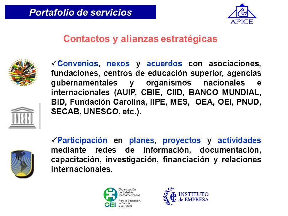 Convenios, nexos y acuerdos con asociaciones, fundaciones, centros de educación superior, agencias gubernamentales y organismos nacionales e internaci