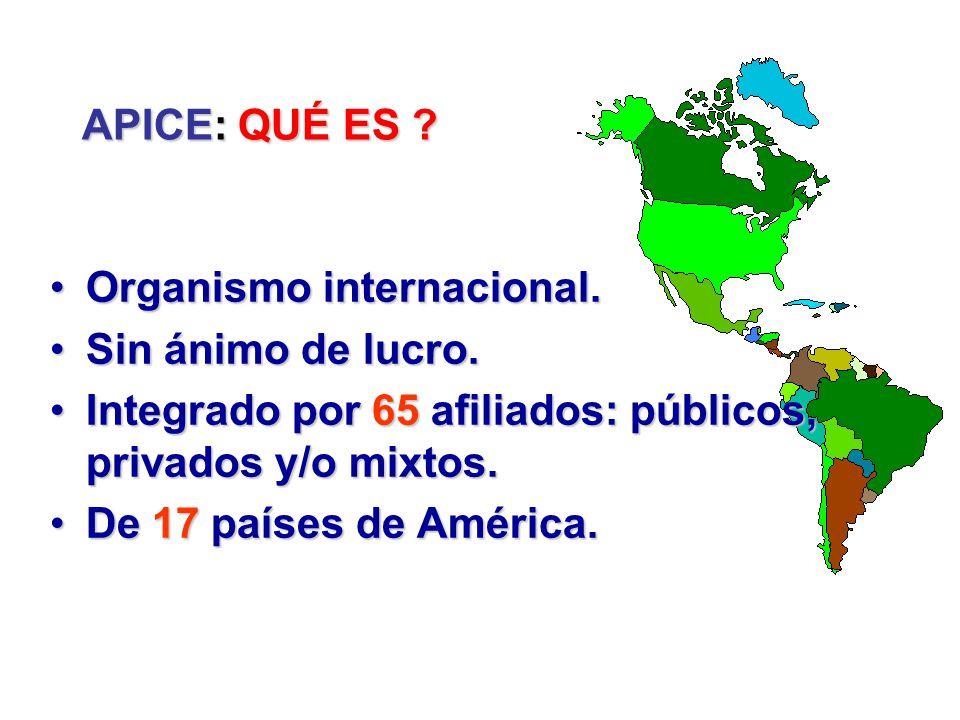 Colombia: 18 Perú: 4 Venezuela: 2 Miembros de APICE Canadá: 3 USA: 5 México: 7 Honduras: 2 Nicaragua: (1) Costa Rica: 3 Chile: 1 Ecuador: 5 Panamá: 2 Argentina: (1) Paraguay: 2 Bolivia: 4 Brasil: 1 R.