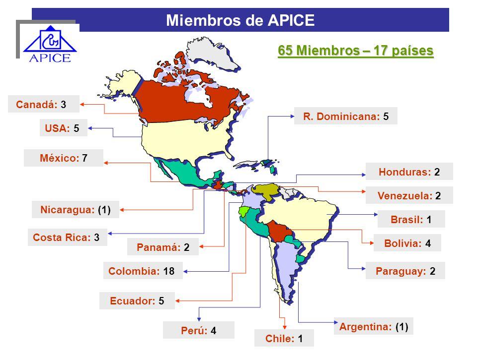 Colombia: 18 Perú: 4 Venezuela: 2 Miembros de APICE Canadá: 3 USA: 5 México: 7 Honduras: 2 Nicaragua: (1) Costa Rica: 3 Chile: 1 Ecuador: 5 Panamá: 2