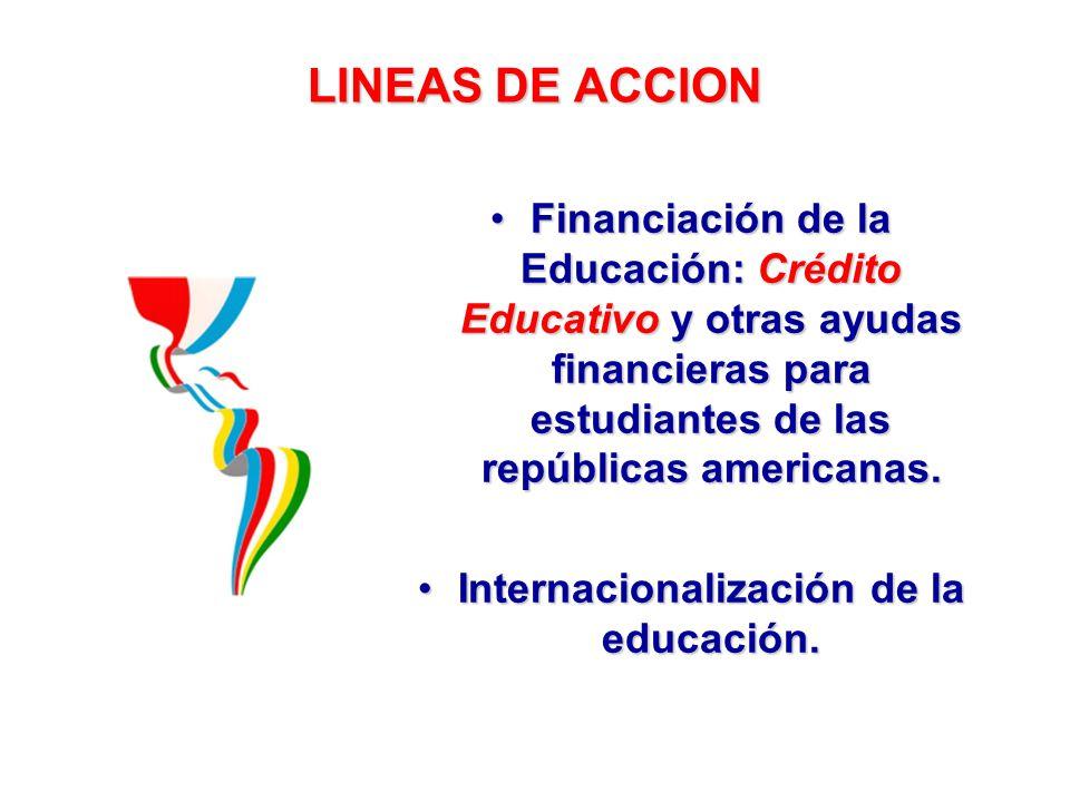 LINEAS DE ACCION Financiación de la Educación: Crédito Educativo y otras ayudas financieras para estudiantes de las repúblicas americanas.Financiación