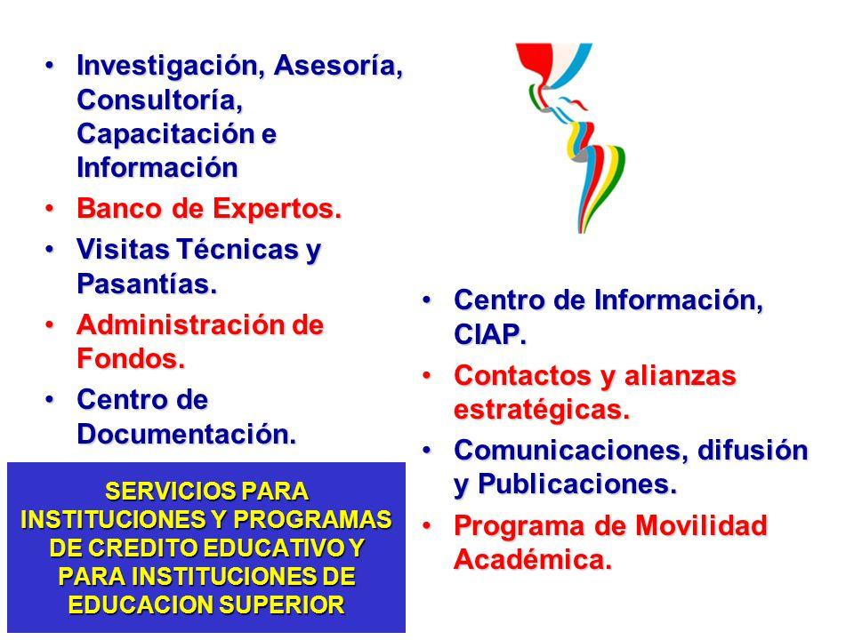 SERVICIOS PARA INSTITUCIONES Y PROGRAMAS DE CREDITO EDUCATIVO Y PARA INSTITUCIONES DE EDUCACION SUPERIOR Investigación, Asesoría, Consultoría, Capacit