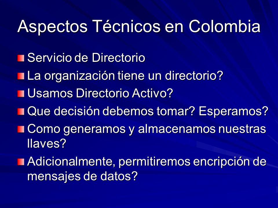 Aspectos Técnicos en Colombia Servicio de Directorio La organización tiene un directorio? Usamos Directorio Activo? Que decisión debemos tomar? Espera