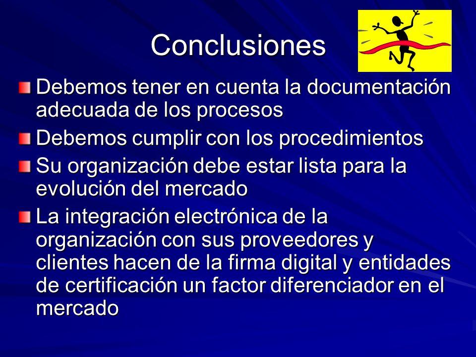 Conclusiones Debemos tener en cuenta la documentación adecuada de los procesos Debemos cumplir con los procedimientos Su organización debe estar lista