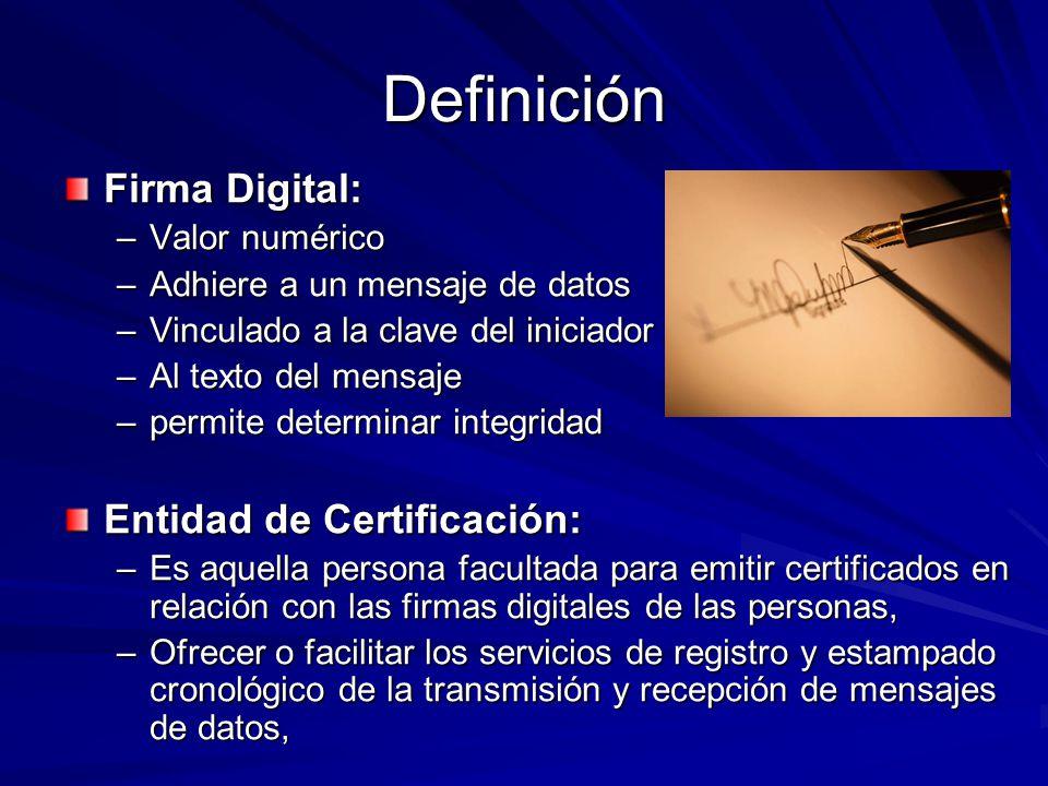 Definición Firma Digital: –Valor numérico –Adhiere a un mensaje de datos –Vinculado a la clave del iniciador y –Al texto del mensaje –permite determin