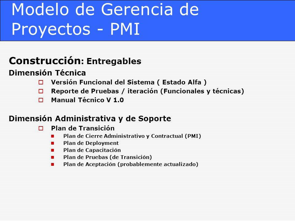 Modelo de Gerencia de Proyectos - PMI Construcción : Entregables Dimensión Técnica Versión Funcional del Sistema ( Estado Alfa ) Reporte de Pruebas /
