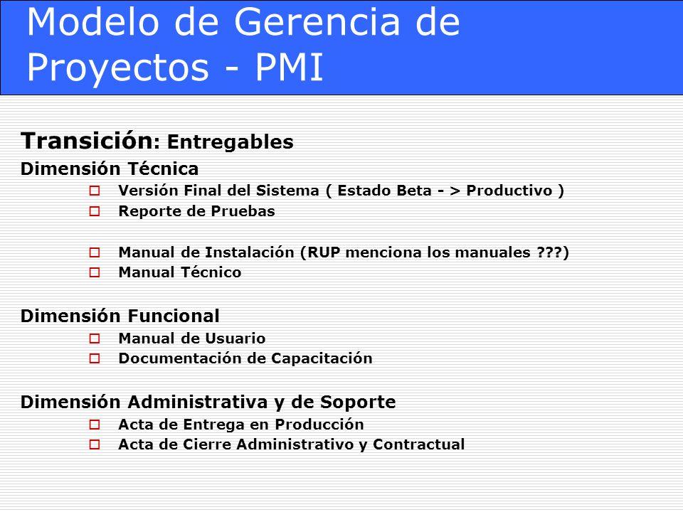 Modelo de Gerencia de Proyectos - PMI Transición : Entregables Dimensión Técnica Versión Final del Sistema ( Estado Beta - > Productivo ) Reporte de P