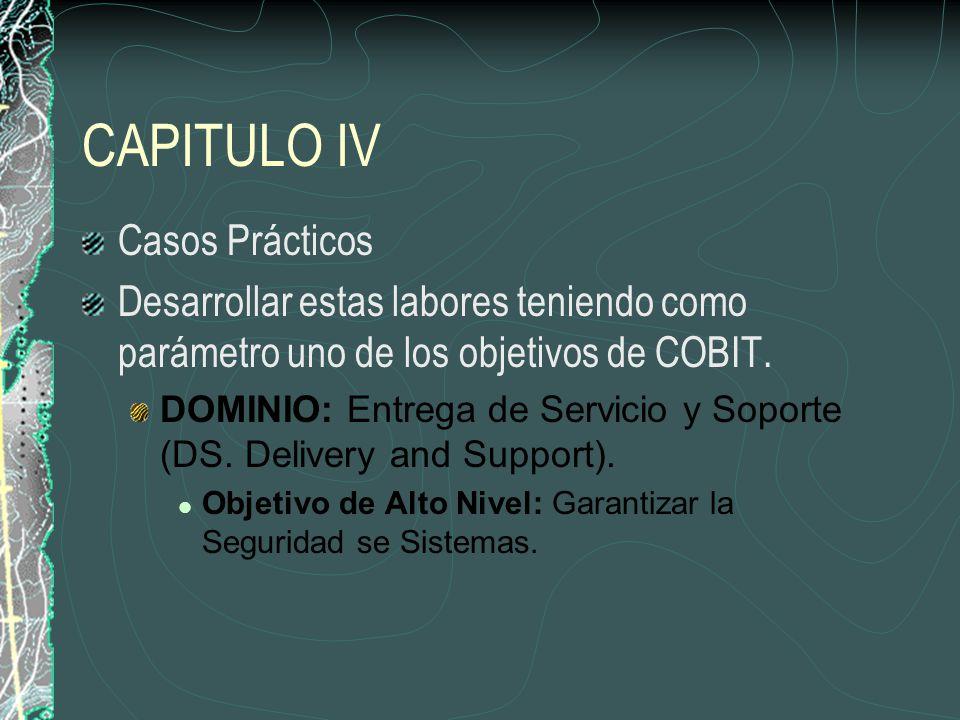 CAPITULO IV Casos Prácticos Desarrollar estas labores teniendo como parámetro uno de los objetivos de COBIT.