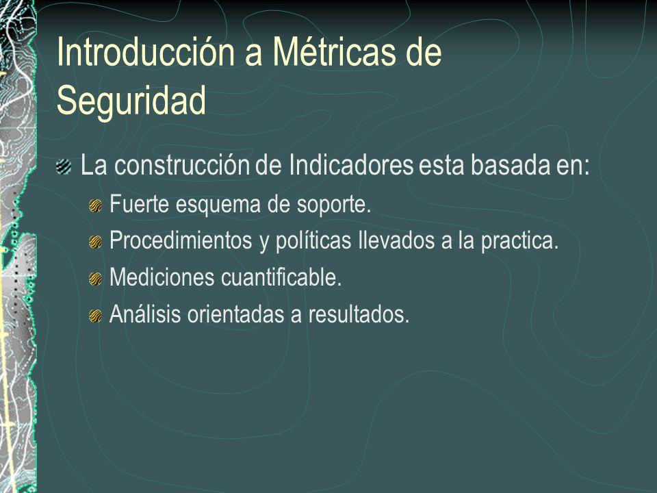 Introducción a Métricas de Seguridad La construcción de Indicadores esta basada en: Fuerte esquema de soporte.