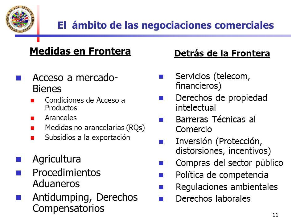 11 El ámbito de las negociaciones comerciales Medidas en Frontera Acceso a mercado- Bienes Condiciones de Acceso a Productos Aranceles Medidas no aran