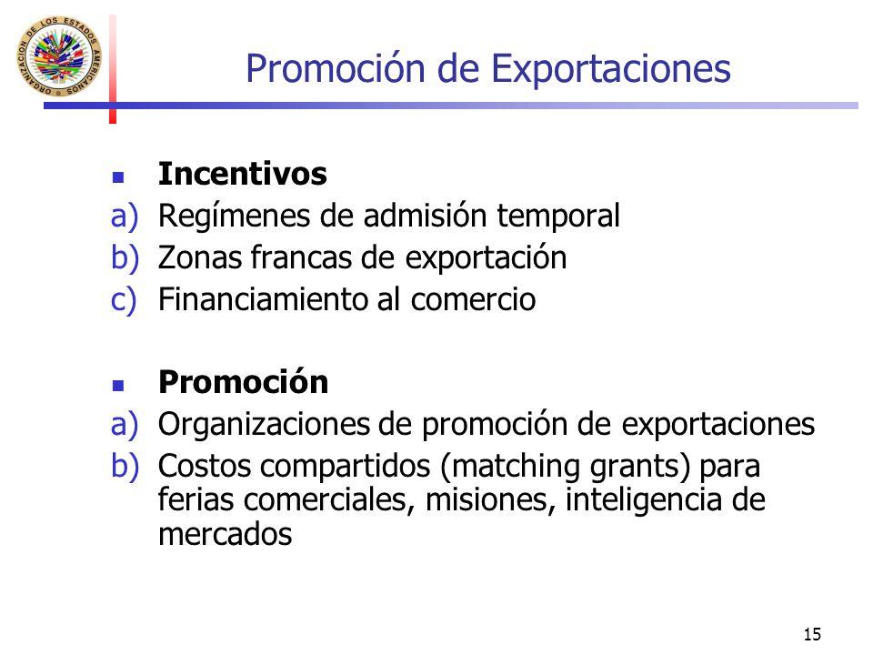 15 Promoción de Exportaciones Incentivos a)Regímenes de admisión temporal b)Zonas francas de exportación c)Financiamiento al comercio Promoción a)Orga