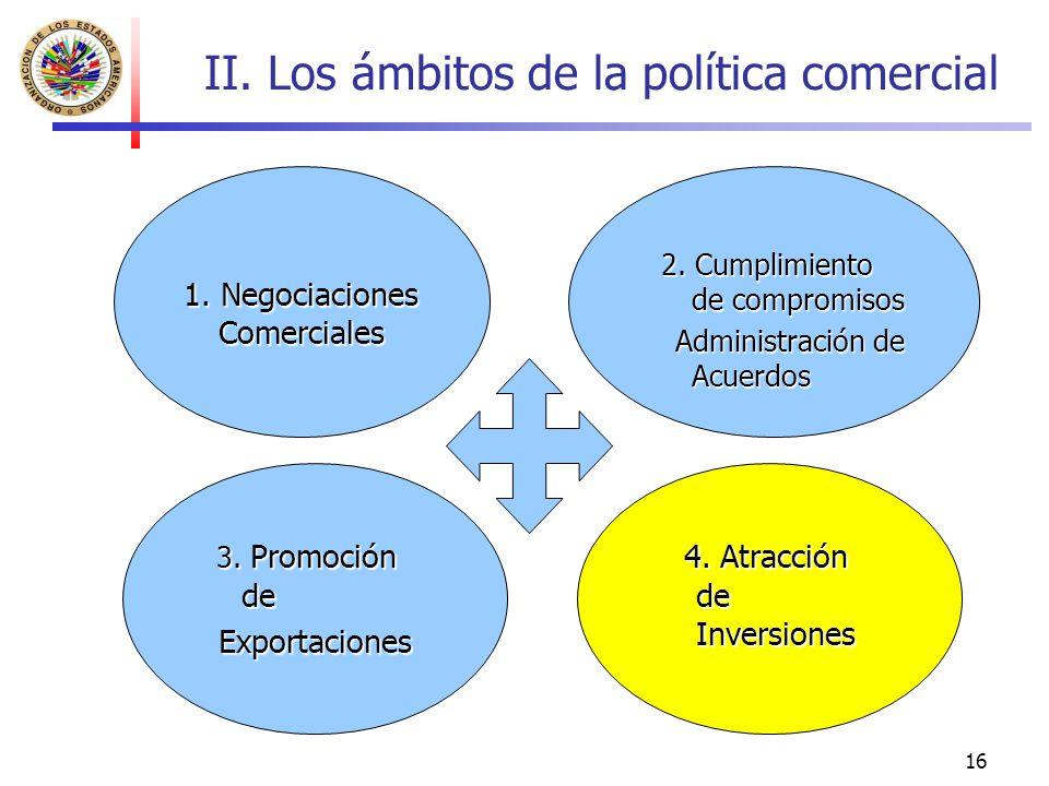 16 II. Los ámbitos de la política comercial 1. Negociaciones Comerciales 2. Cumplimiento de compromisos 2. Cumplimiento de compromisos Administración