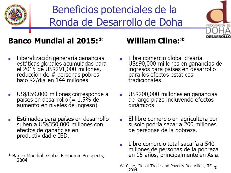 20 Beneficios potenciales de la Ronda de Desarrollo de Doha Banco Mundial al 2015:* Liberalización generaría ganancias estáticas globales acumuladas p