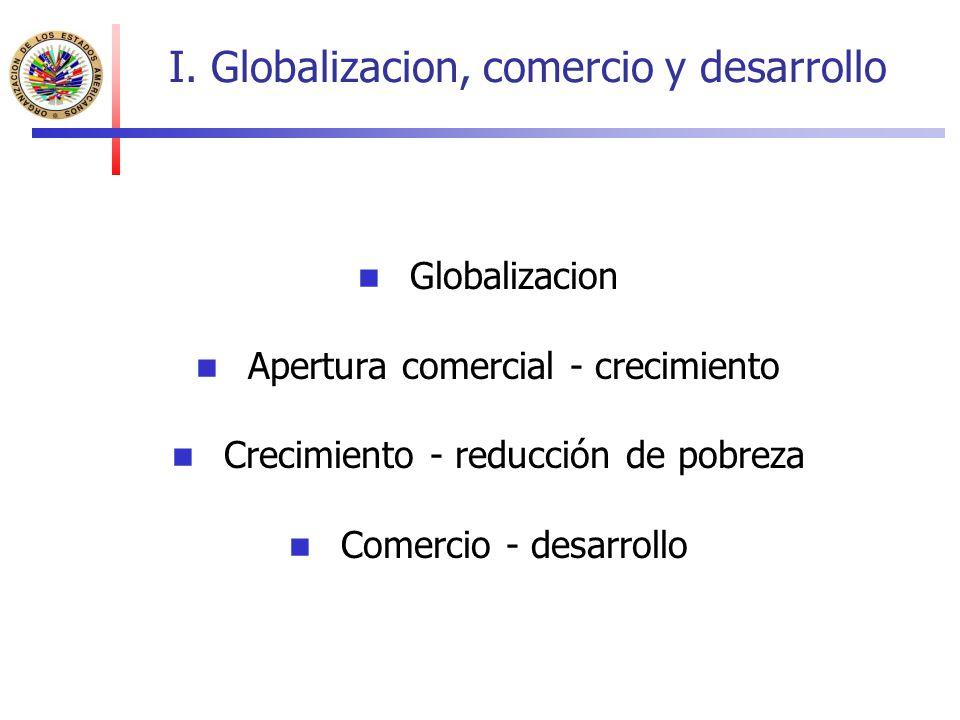 I. Globalizacion, comercio y desarrollo Globalizacion Apertura comercial - crecimiento Crecimiento - reducción de pobreza Comercio - desarrollo
