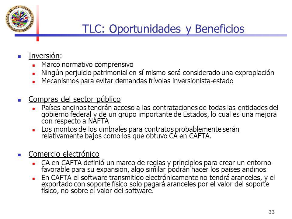 33 TLC: Oportunidades y Beneficios Inversión: Marco normativo comprensivo Ningún perjuicio patrimonial en sí mismo será considerado una expropiación M