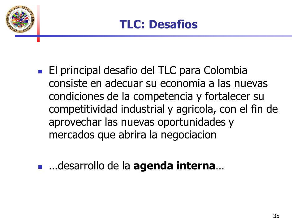 35 TLC: Desafios El principal desafio del TLC para Colombia consiste en adecuar su economia a las nuevas condiciones de la competencia y fortalecer su