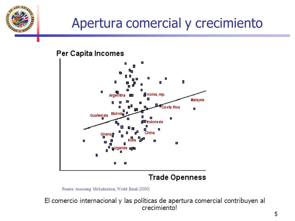 5 Apertura comercial y crecimiento El comercio internacional y las políticas de apertura comercial contribuyen al crecimiento! Fuente: Assessing Globa