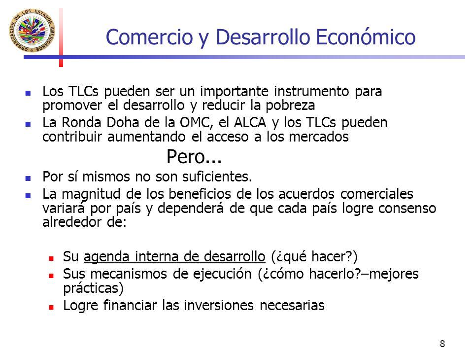 8 Comercio y Desarrollo Económico Los TLCs pueden ser un importante instrumento para promover el desarrollo y reducir la pobreza La Ronda Doha de la O