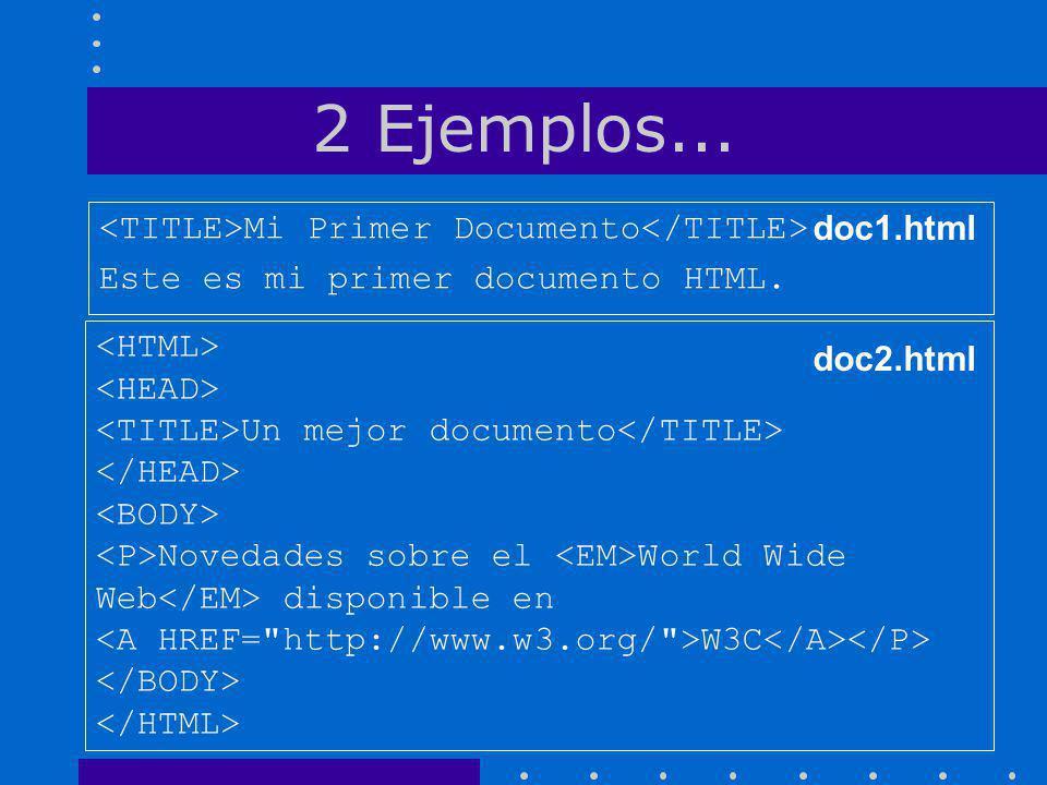 2 Ejemplos... Mi Primer Documento Este es mi primer documento HTML. Un mejor documento Novedades sobre el World Wide Web disponible en W3C doc1.html d