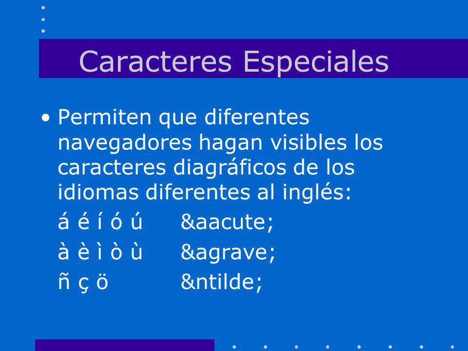 Caracteres Especiales Permiten que diferentes navegadores hagan visibles los caracteres diagráficos de los idiomas diferentes al inglés: á é í ó ú&aac