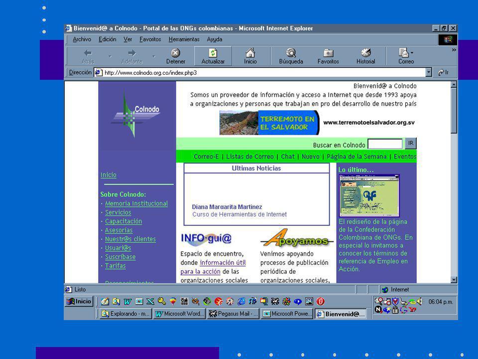 Estándares de HTML HTML 1 Desarrollado en CERN HTML 2.0 Incluye mejoras en NCSA Mosaic (formularios e imágenes) HTML 3.2 Mejoras para controlar el formateo de tablas, etc.