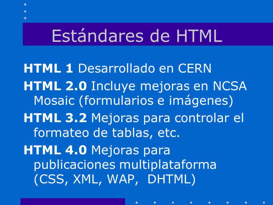 Estándares de HTML HTML 1 Desarrollado en CERN HTML 2.0 Incluye mejoras en NCSA Mosaic (formularios e imágenes) HTML 3.2 Mejoras para controlar el for