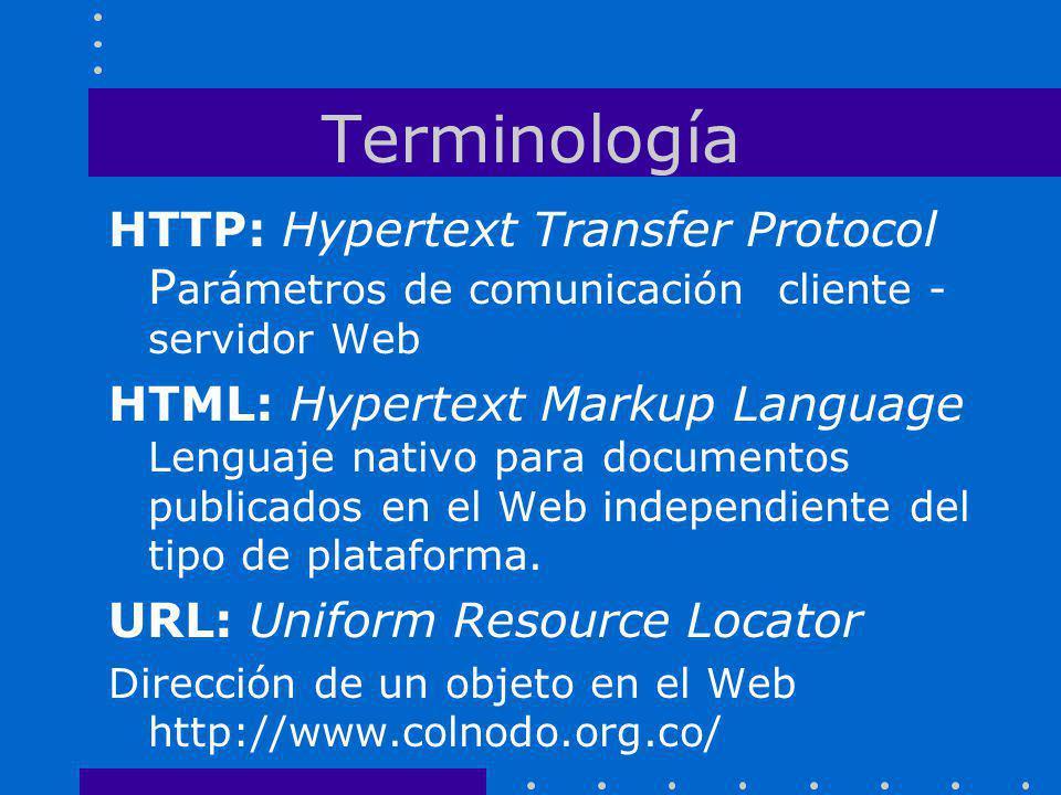 Terminología HTTP: Hypertext Transfer Protocol P arámetros de comunicación cliente - servidor Web HTML: Hypertext Markup Language Lenguaje nativo para