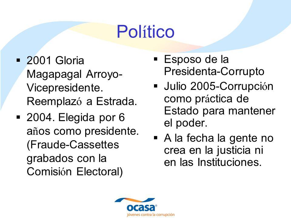 Pol í tico 2001 Gloria Magapagal Arroyo- Vicepresidente. Reemplaz ó a Estrada. 2004. Elegida por 6 a ñ os como presidente. (Fraude-Cassettes grabados