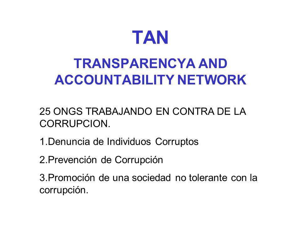TAN TRANSPARENCYA AND ACCOUNTABILITY NETWORK 25 ONGS TRABAJANDO EN CONTRA DE LA CORRUPCION. 1.Denuncia de Individuos Corruptos 2.Prevención de Corrupc
