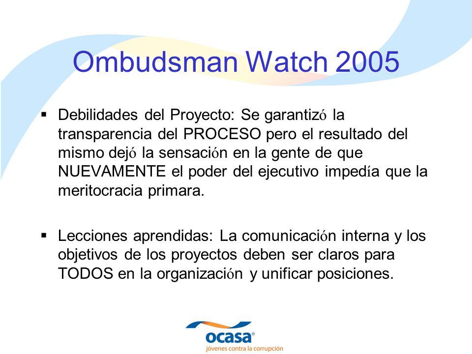 Ombudsman Watch 2005 Debilidades del Proyecto: Se garantiz ó la transparencia del PROCESO pero el resultado del mismo dej ó la sensaci ó n en la gente de que NUEVAMENTE el poder del ejecutivo imped í a que la meritocracia primara.