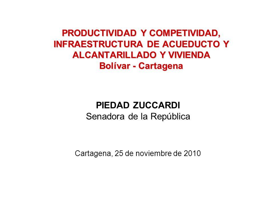 PRODUCTIVIDAD Y COMPETIVIDAD, INFRAESTRUCTURA DE ACUEDUCTO Y ALCANTARILLADO Y VIVIENDA Bolívar - Cartagena PIEDAD ZUCCARDI Senadora de la República Cartagena, 25 de noviembre de 2010