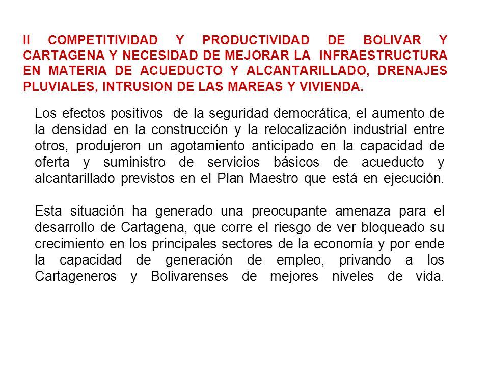 II COMPETITIVIDAD Y PRODUCTIVIDAD DE BOLIVAR Y CARTAGENA Y NECESIDAD DE MEJORAR LA INFRAESTRUCTURA EN MATERIA DE ACUEDUCTO Y ALCANTARILLADO, DRENAJES PLUVIALES, INTRUSION DE LAS MAREAS Y VIVIENDA.